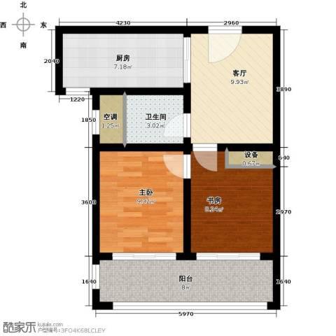 上书房2室1厅1卫1厨57.00㎡户型图