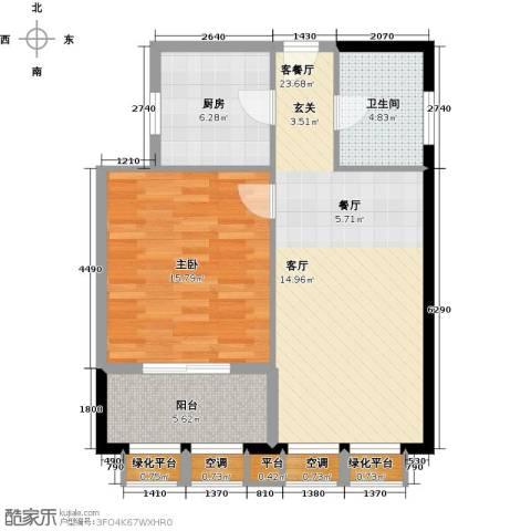 金地假日广场1室1厅1卫1厨68.00㎡户型图