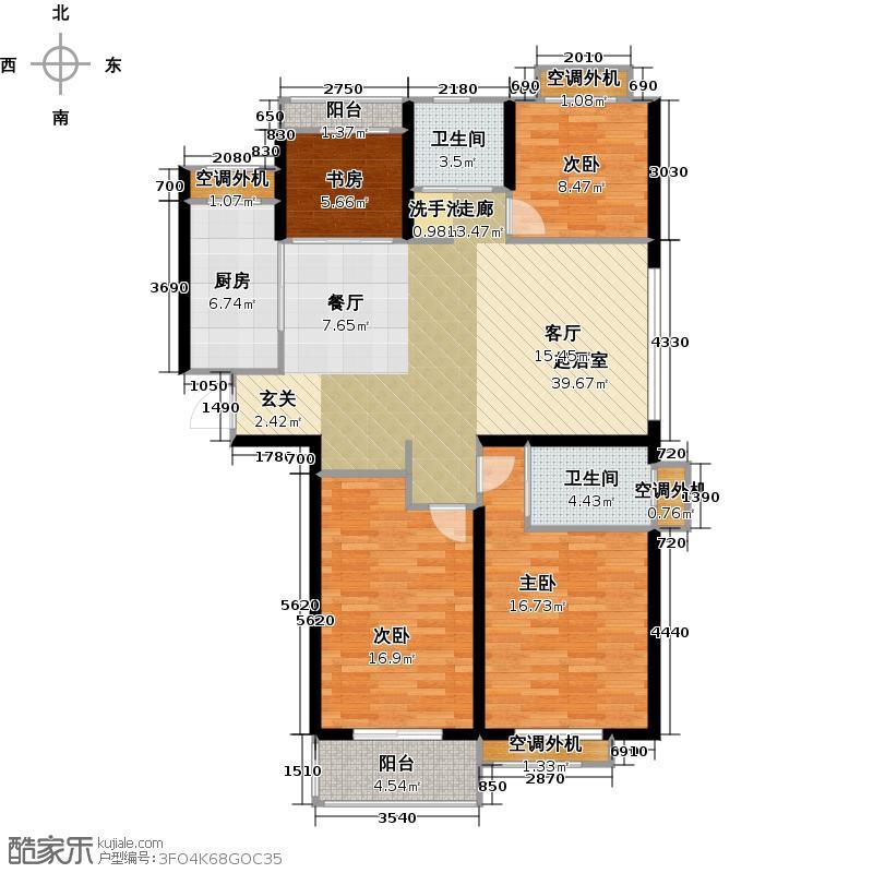 银河湾明苑125.47㎡四房二厅二卫-125.47平方米-30套户型