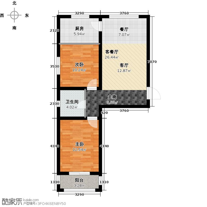 恒伟绿洲74.54㎡I1户型2室1厅1卫