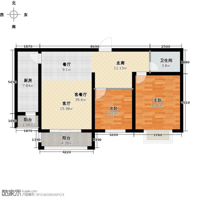 恒伟绿洲88.68㎡E户型2室2厅1卫