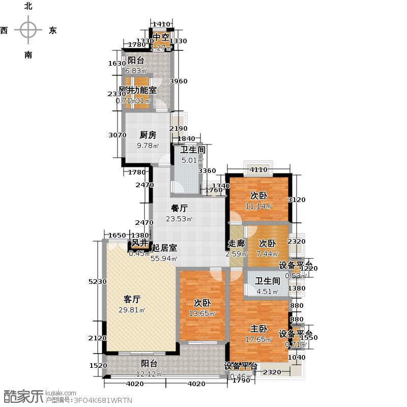 富力唐宁花园A3栋标准层01户型4室2卫1厨