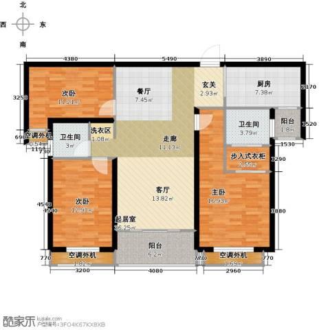 银河湾明苑3室0厅2卫1厨138.00㎡户型图