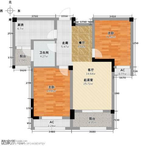 长宇棕榈湾2室0厅1卫1厨88.00㎡户型图