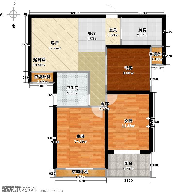 银河湾明苑87.63㎡三房二厅一卫-92.61平方米-62套。户型