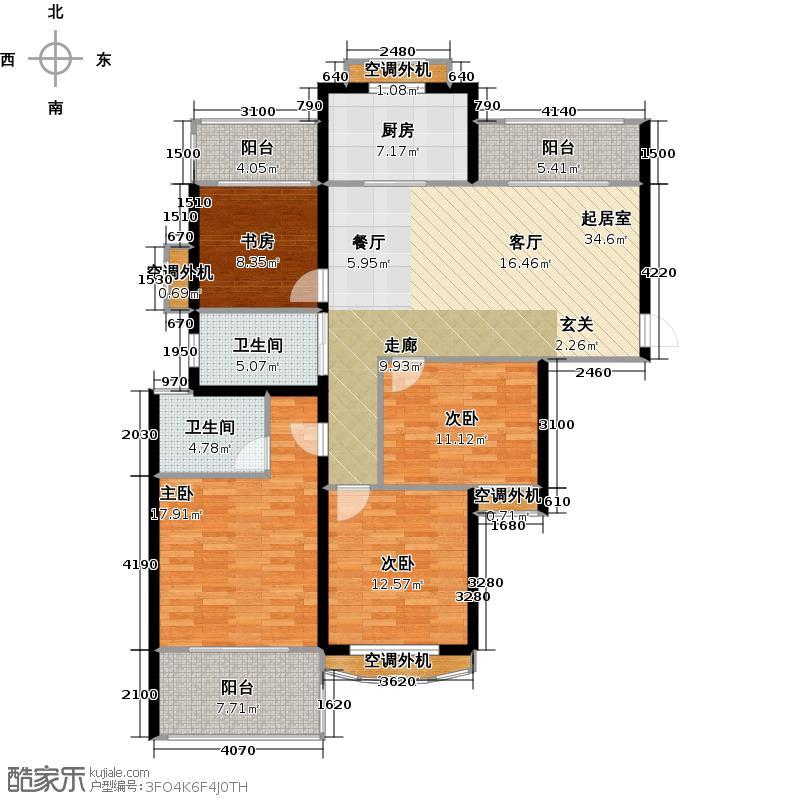 银河湾明苑138.00㎡D户型4房2厅2卫户型4室2厅2卫
