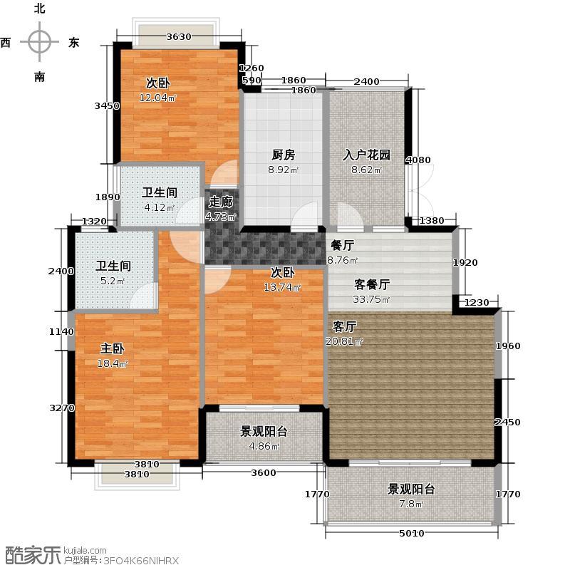 狮峰公馆4栋标准层01户型3室1厅2卫1厨