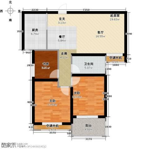 银河湾明苑3室0厅1卫1厨87.00㎡户型图