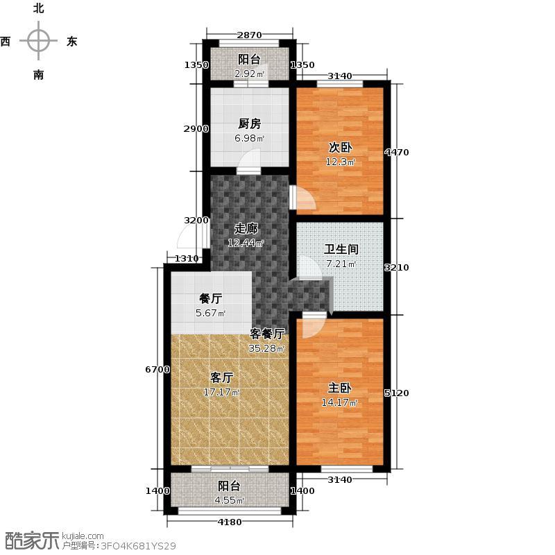 恒伟绿洲95.49㎡J反户型2室2厅1卫