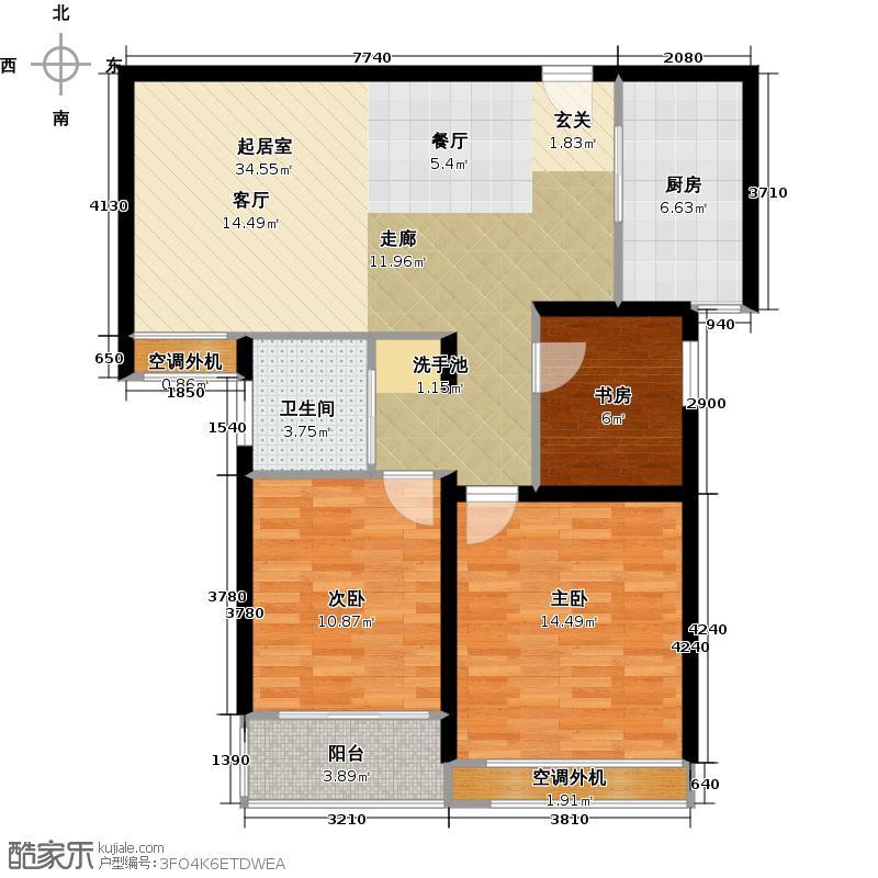 银河湾明苑93.00㎡B户型3室2厅1卫户型3室2厅1卫