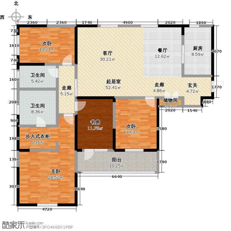 朗诗绿色街区176.00㎡D户型 3室2厅2卫户型3室2厅2卫