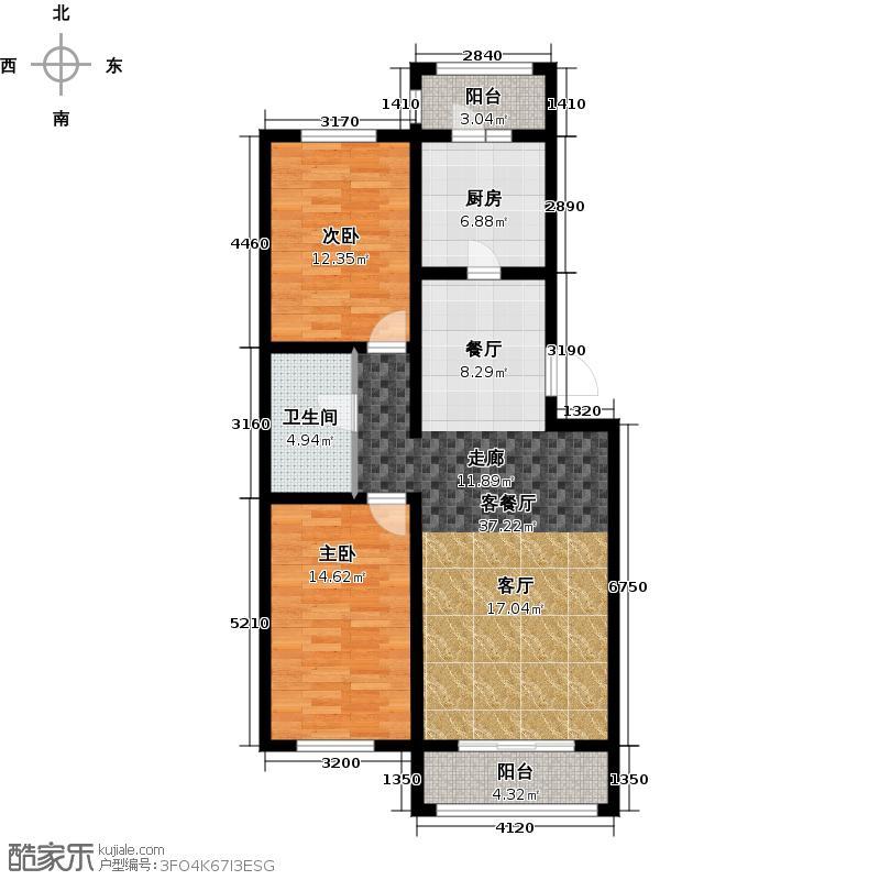 恒伟绿洲95.49㎡G户型2室2厅1卫