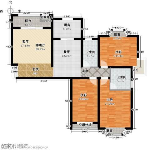 大名城3室1厅2卫1厨123.00㎡户型图