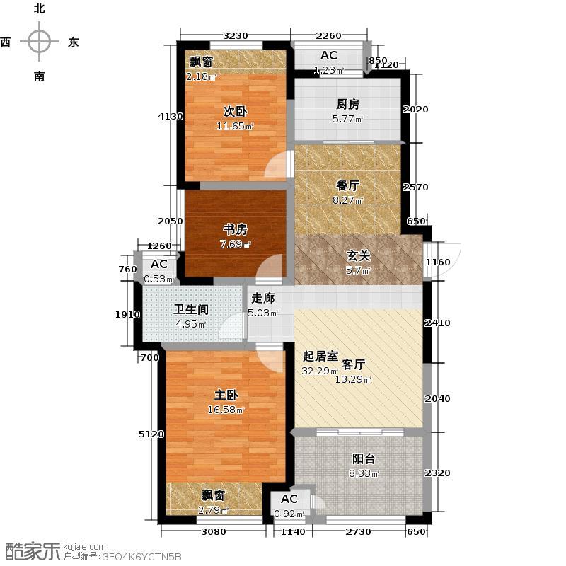 新城香溢澜桥98.00㎡二期高层98平米户型3室2厅1卫