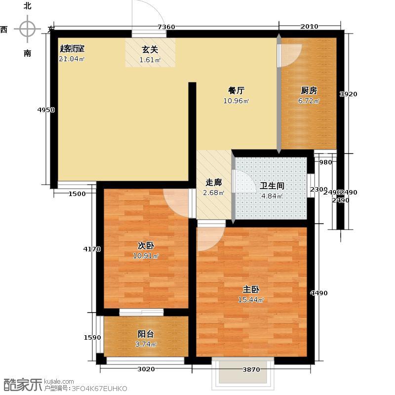 枫逸人家84.45㎡枫逸人家户型图16#楼B1户型两房两厅一卫84.45平米(2/21张)户型2室2厅1卫