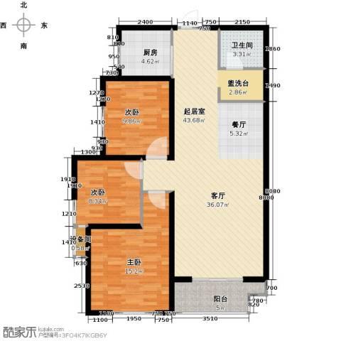 高新大都荟3室0厅1卫1厨108.00㎡户型图