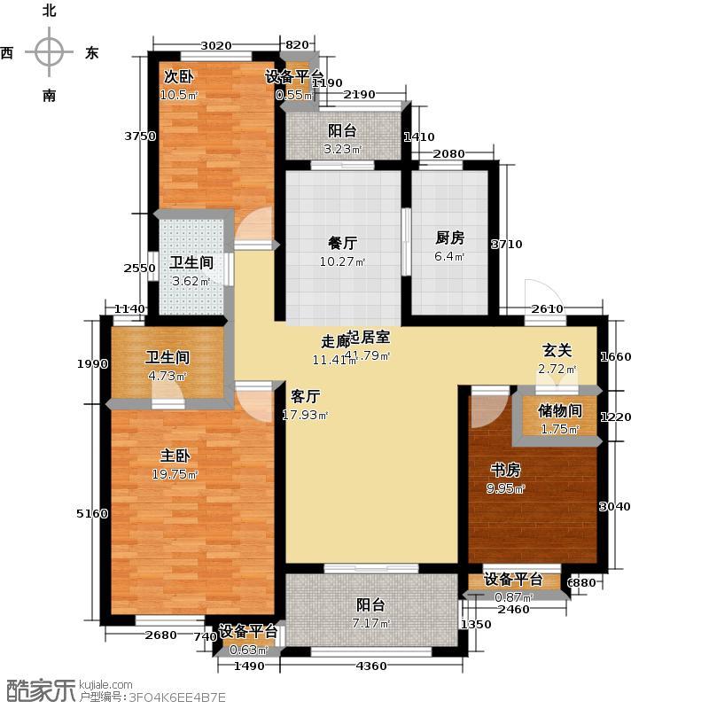 华润国际社区130.00㎡三期3室2厅2卫户型3室2厅2卫