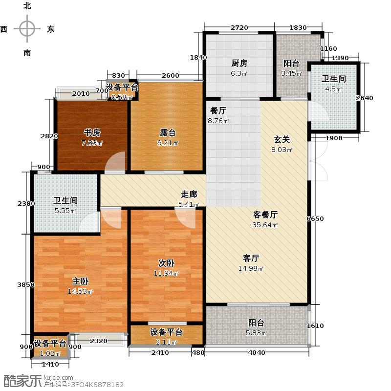 常发豪庭国际117.34㎡三房二厅二卫-134.7平方米户型