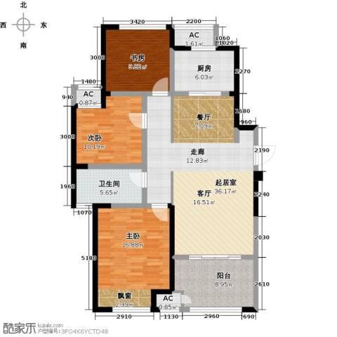 新城香溢澜桥3室0厅1卫1厨108.00㎡户型图