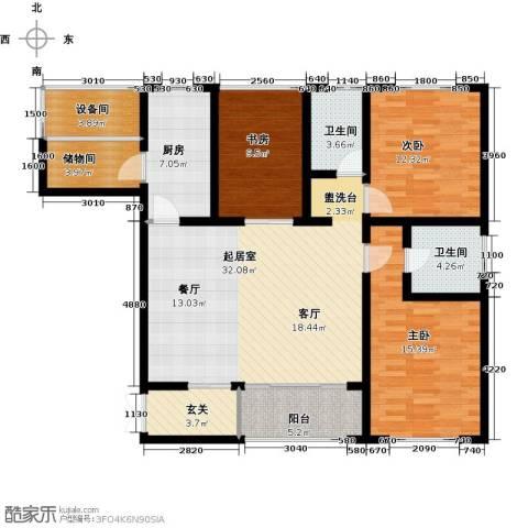 香榭兰廷3室0厅2卫1厨114.00㎡户型图