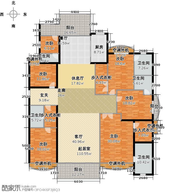 银河湾明苑344.00㎡F户型6房3厅5卫户型6室3厅5卫
