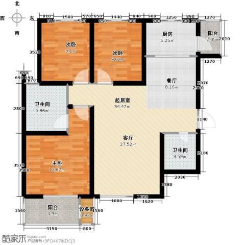 高新大都荟3室0厅2卫1厨121.00㎡户型图