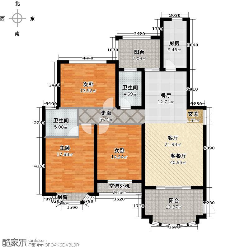 大名城136.00㎡C2户型40#、41#、42#楼2房2厅3卫136-138平米户型2室2厅3卫