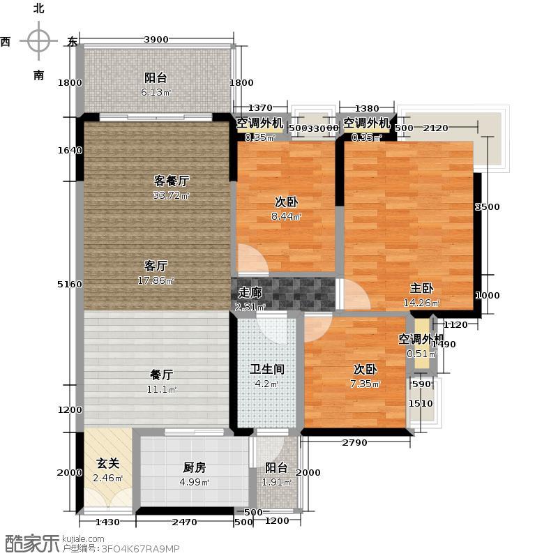 中惠璧珑湾10栋05单元户型3室1厅1卫1厨