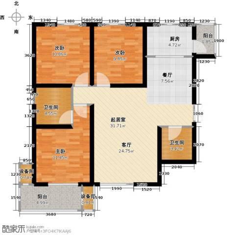 高新大都荟3室0厅2卫1厨125.00㎡户型图