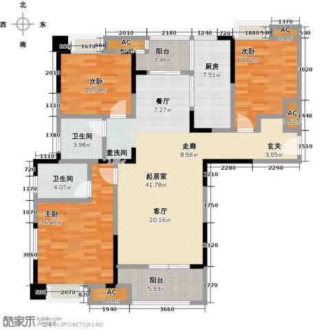绿地中央广场3室0厅2卫1厨125.00㎡户型图