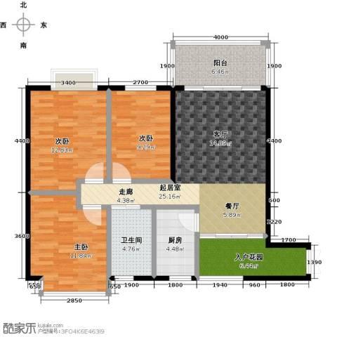 鼎泰翠湖山3室0厅1卫1厨116.00㎡户型图