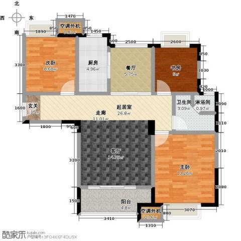 华发新城3室1厅1卫1厨101.00㎡户型图