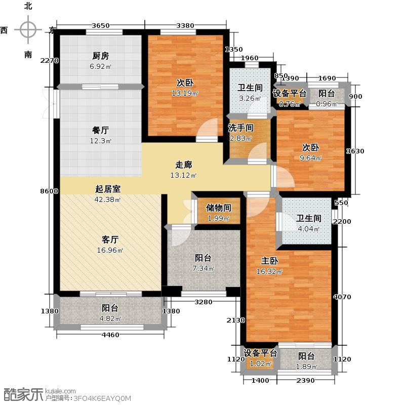 华润国际社区138.00㎡24#楼A-3户型 四房两厅两卫户型4室2厅2卫