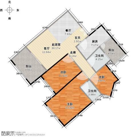 云裳丽影3室0厅2卫1厨102.00㎡户型图