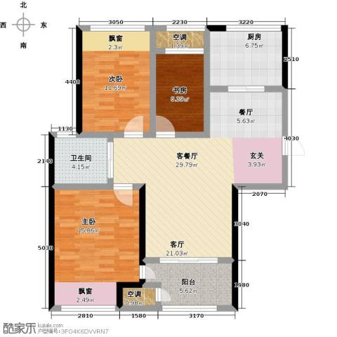 新城香溢紫郡3室1厅1卫1厨96.00㎡户型图