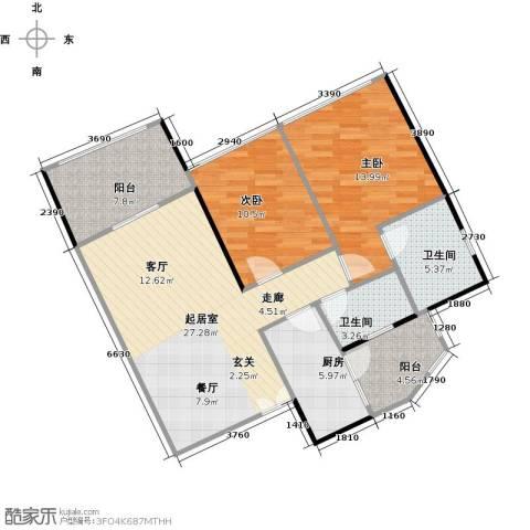 云裳丽影2室0厅2卫1厨85.00㎡户型图