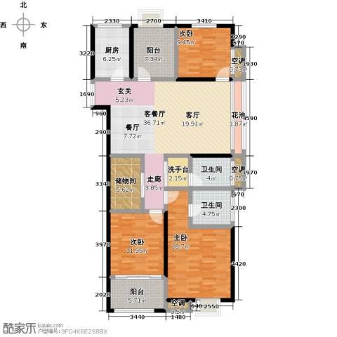 阳光龙庭3室1厅2卫1厨136.00㎡户型图
