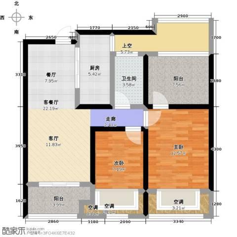 龙湖香醍漫步2室1厅1卫1厨89.00㎡户型图