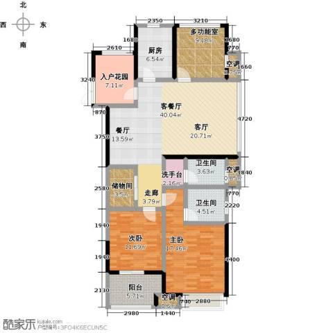 阳光龙庭2室1厅2卫1厨129.00㎡户型图