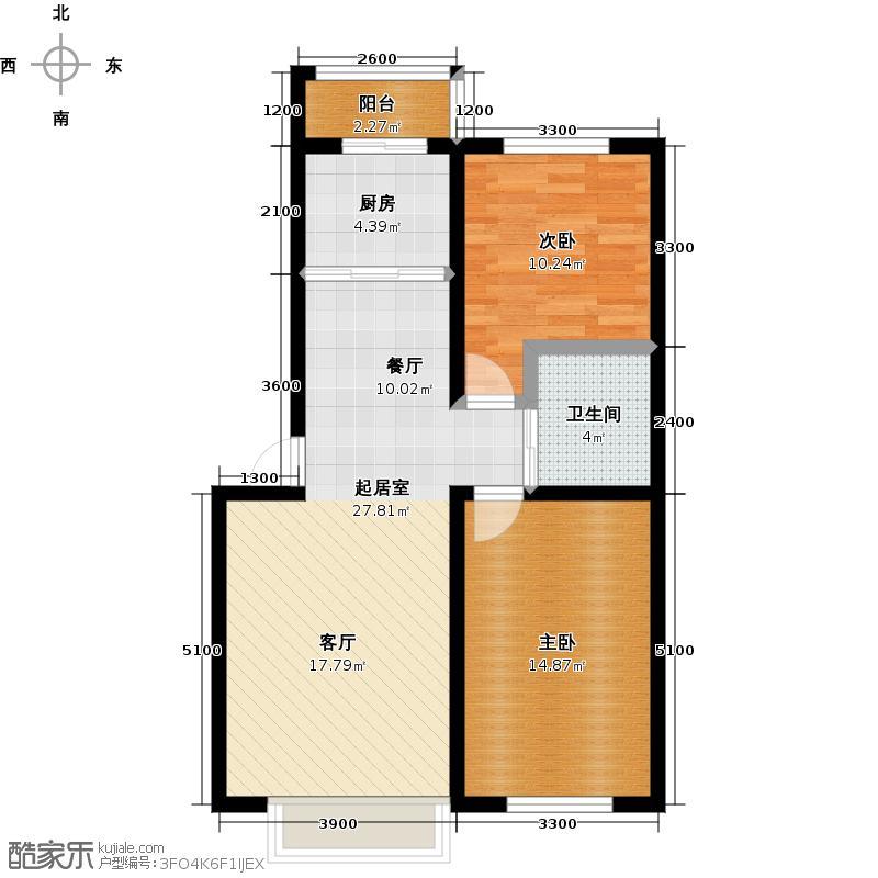 青石花语82.00㎡A、82-92平方米户型图户型2室2厅1卫