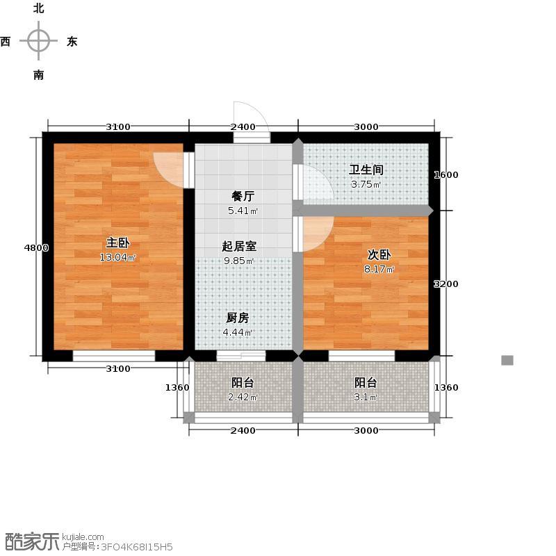 成涛绿锦国际58.07㎡小高层户型图户型2室1厅1卫