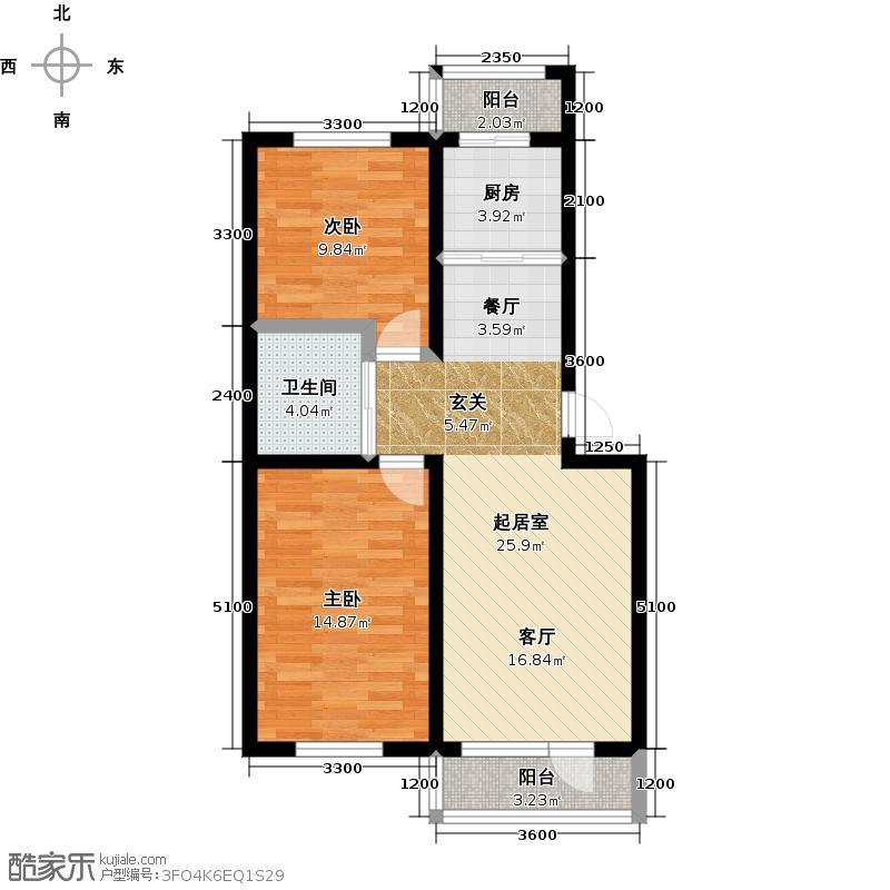 青石花语85.00㎡A1、85平方米户型图户型2室2厅1卫