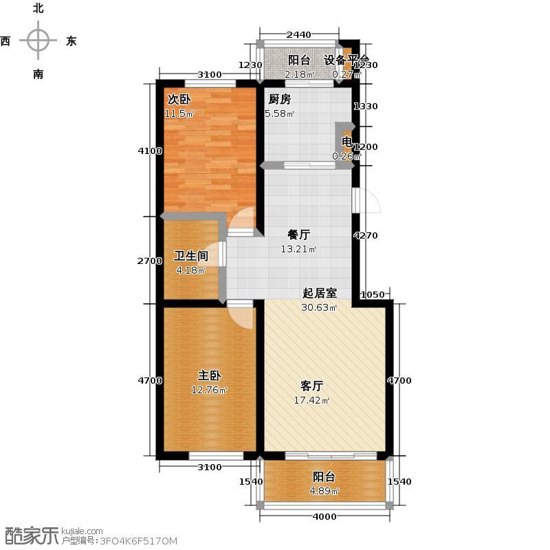 成涛绿锦国际92.00㎡E-1高层洋房户型图户型2室2厅1卫