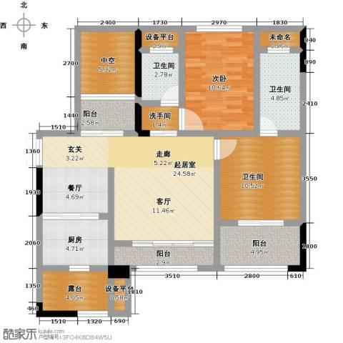 CROSS尚公馆1室0厅3卫1厨90.00㎡户型图