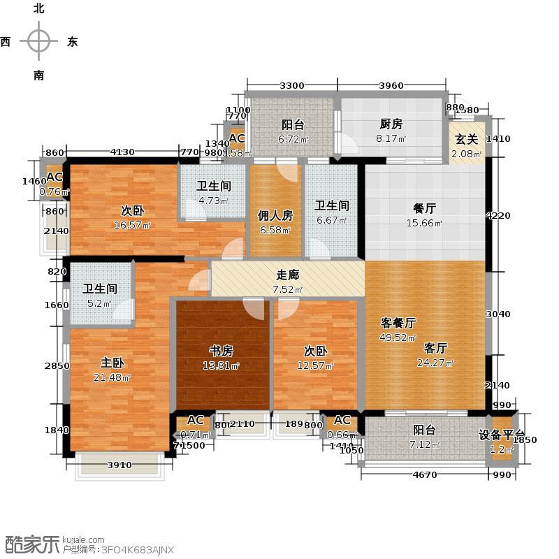 龙泉豪苑二期F1#-2#标准层户型4室1厅3卫1厨