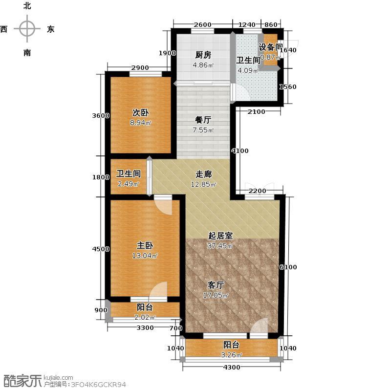 金色橄榄城104.00㎡金色橄榄城 G户型 2室2厅1卫104平米户型2室2厅1卫