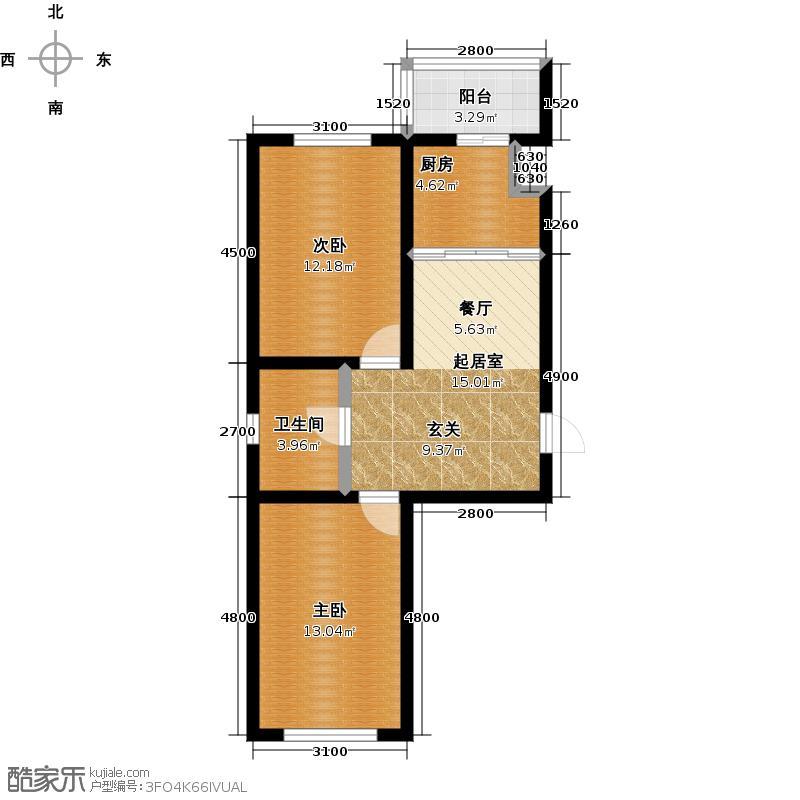 成涛绿锦国际73.33㎡小高层户型图户型2室1厅1卫