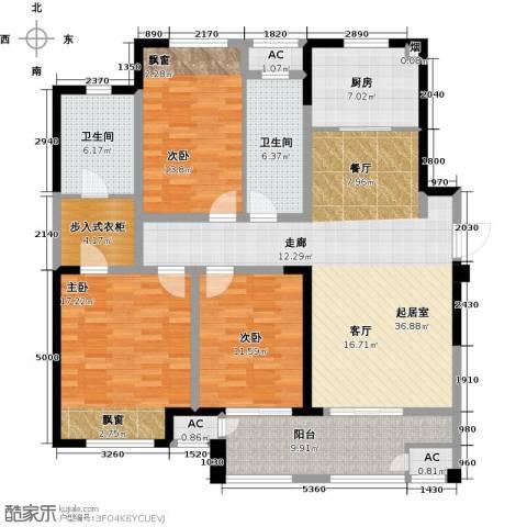 新城香溢澜桥3室0厅2卫1厨132.00㎡户型图