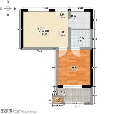 康乃馨国际老年生活示范城1室0厅1卫0厨48.00㎡户型图