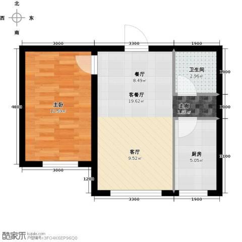 万福小筑1室1厅1卫1厨58.00㎡户型图